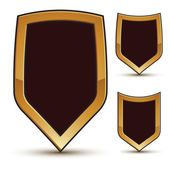 Renown vector black shield shape emblems with golden borders, 3d — Stock Vector