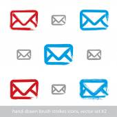 Collection of hand-drawn simple vector mail icons, set of brush  — 图库矢量图片