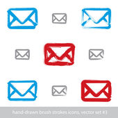 Collection of hand-drawn simple vector mail icons, set of brush  — Stock vektor