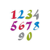Hand written colorful vector numbers, stylish drawn numbers set. — Cтоковый вектор