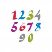 Hand written colorful vector numbers, stylish drawn numbers set. — Vetorial Stock
