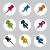 Push pins icons vector set, simplistic symbols vector collection — Stock Vector