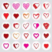 25 heart round icons. — Stockvector