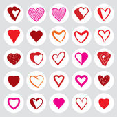 25 heart round icons. — Stock vektor
