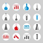 Chemical and medical flask icons vector set. — Stockvektor