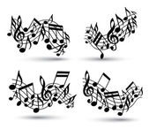 Vector black jolly wavy staves with musical notes on white backg — Stock Vector