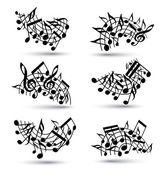 Vector black jolly staves with musical notes on white background — Stock Vector