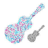 Bright vector acoustic guitar filled with musical notes, decorat — Stock Vector