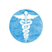 Caduceus medical vector icon with pixel print halftone dots text — 图库矢量图片