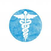 Caduceus medical vector icon with pixel print halftone dots text — Stock Vector
