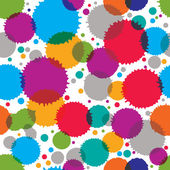 Colorful vector ink splash seamless pattern with rounded overlap — Stock Vector