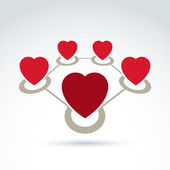Vector connected loving hearts place in a circles. Location symb — Stock Vector