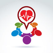 Cardiology medical and society cardiogram heart beat icon, medic — Stockvektor