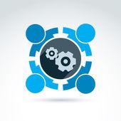 Vector illustration of gears - enterprise system theme, organiza — Stock Vector