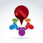 Vektor-Illustration eines roten Sprechblase und Reagenzglas mit einem — Stockvektor