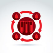 Donor blood and Circulatory system icon, test tube, virus, epide — Vetorial Stock