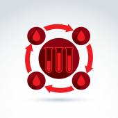Donor blood and Circulatory system icon, test tube, virus, epide — Vetor de Stock
