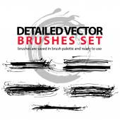 Collection of ink hand drawn brushes scanned and traced in highe — Stock Vector