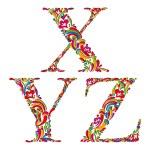 Vintage letters x y z. — Stock Vector #57828575
