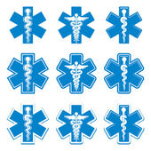 Emergency ambulance medicine symbols set. — Stock Vector