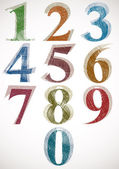 Vintage style numbers typeset. — Stock Vector