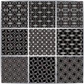 Metal netting seamless patterns set. — Stock Vector