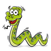 Yeşil yılan karikatür. — Stok Vektör