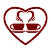 Romantic dating icon with two coffee cups. — ストックベクタ