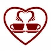 Romantisch dating pictogram met twee kopjes koffie. — Stockvector
