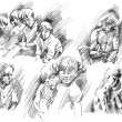Children, brothers and sisters, friends, father sketches. — Stok fotoğraf #57834207