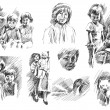 Children with father and mother, pets, brother and sister sketch — Fotografia Stock  #57834305