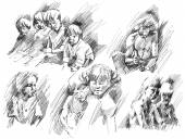 Children, brothers and sisters, friends, father sketches. — Stock Photo