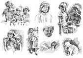 Children with father and mother, pets, brother and sister sketch — Stock Photo