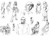 People sketches, hand drawn. — Zdjęcie stockowe
