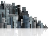 Futuristic city panorama illustration. — Stockfoto