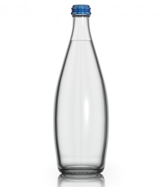Soda water in glass bottle.
