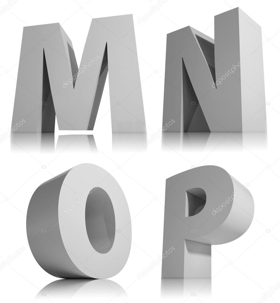 Big 3d letters isolated on white background font, alphabet letter ...