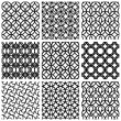 Monochrome geometric seamless patterns set. — Stock Vector #57832851