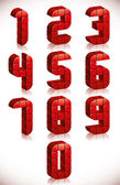 Red 3d numbers set made in digital style. — ストックベクタ