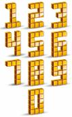 3d cubes golden numbers set. — Stock Vector