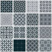 Retro tiles seamless patterns set. — Stock Vector