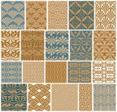 Vintage tiles seamless patterns vector set. — Stock Vector