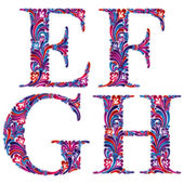 Floral letters e f g h. — Stock Vector