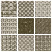 Geometric and monochrome seamless vintage tiles set with aged te — Stock Vector