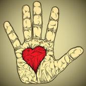 рука с сердцем. — Cтоковый вектор