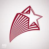 Vector celestial object, pentagonal comet star illustration. Gra — Stock Vector