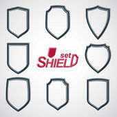Collection of vector grayscale defense shields, protection desig — Stock Vector