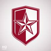 Vector shield with a red pentagonal Soviet star, protection hera — Stock Vector