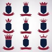 Collection of empire design elements. Heraldic royal coronet ill — Stock Vector