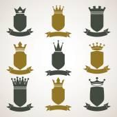 Heraldic royal blazon illustrations set - imperial striped decor — Stock Vector